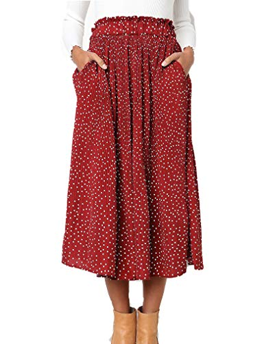 Women's Summer Pleated A-line Midi Skirt Dress Polka Dot Skirt with Pockets Red,S