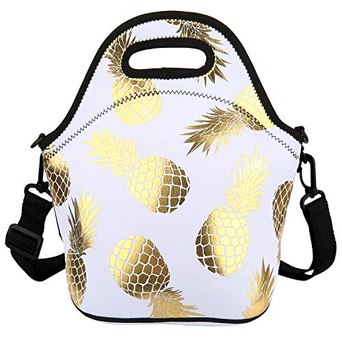 Golden Pineapple Neoprene Lunch Bag/Lunch Box/Lunch Tote/Container Case Thermal Waterproof Picnic Bags for Adults Children (White)