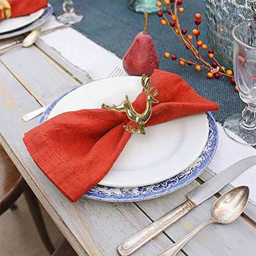 KissDate Napkin Rings, 6Pcs Gold Elk Chic Napkin Rings for Place Settings, Wedding Receptions, Christmas, Thanksgiving and Home Kitchen Dining Table Linen Accessories by KissDate (Image #6)