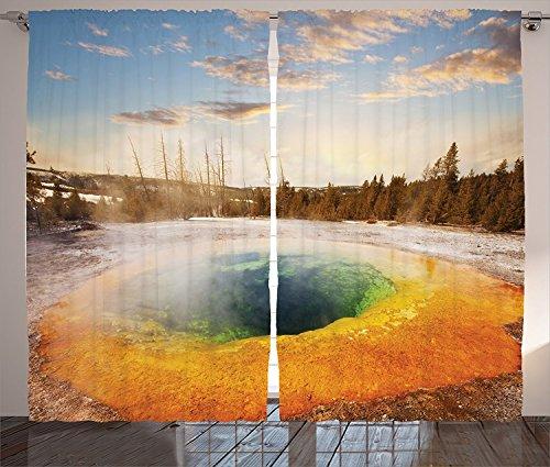 [Yellowstone Decor Curtains Morning Glory Pool in Yellowstone National Park Winter Scene Landmark Themed Image Living Room Bedroom Decor 2 Panel Set Orange Brown,Size:2 x 54