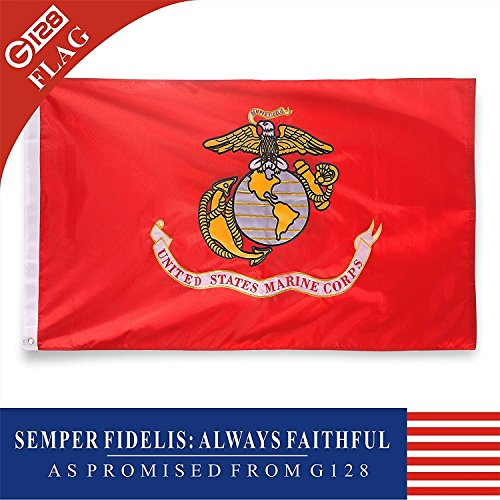 G128 USMC United States Marine Corps 2x3 Ft Double Sided 2 ply Embroidered U. S. Marine Corps Military Flag Brass Grommets