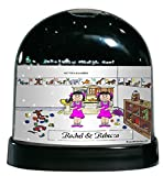 Personalized Friendly Folks Cartoon Caricature Snow Globe Gift: Twin Sisters Great for room décor