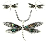 """DianaL Boutique Gorgeous Abalone Dragonfly Pendant Necklace and Earrings Set with 24"""" Chain Gift Boxed"""