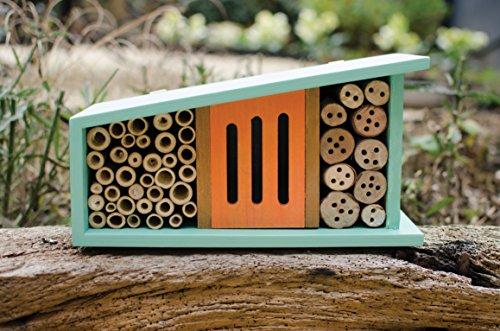 조그만 사려 깊은 정원사 버그 모텔 곤충 하우스, 청록색과 오렌지, 중세 세기 현대 디자인 (13 x 5)/Little Thoughtful Gardener Bug Motel Insect House, Turquoise and Orange, Mid Century Modern Design (13 x 5 )