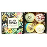 Bath Bombs Gift Set, JRINTL 4 made Fizzies, Shea & Coco Butter Dry Skin Moisturize, Perfect for Bubble & Spa Bath…