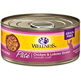 Wellness Natural Grain Free Wet Canned Cat Food - Chicken & Lobster Pate - 5.5-Ounce Can (Pack Of 24)