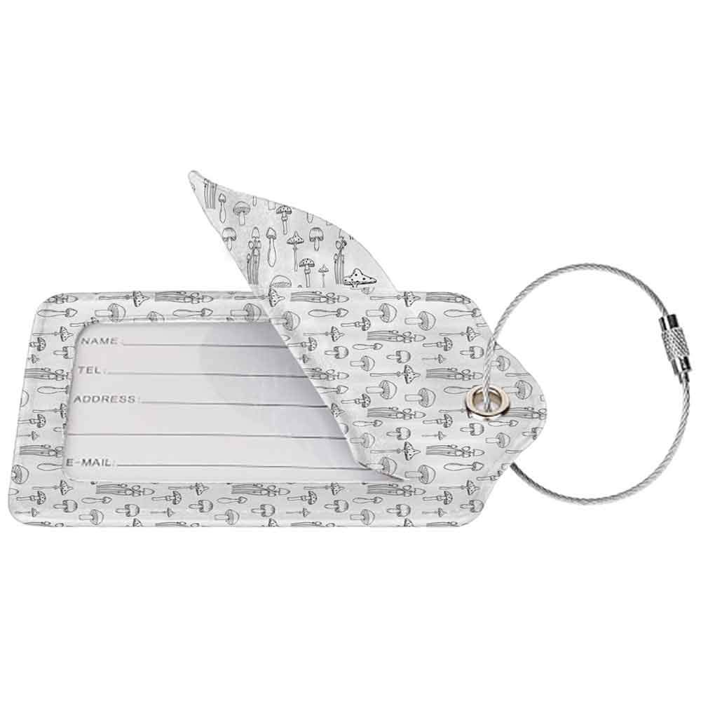 Waterproof luggage tag Mushroom Collection of Different Mushrooms Doodle Style Monochrome Display Organic Garden Soft to the touch Black White W2.7 x L4.6