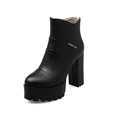 Women's High-Heels Solid Round Closed Toe Zipper Boots