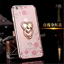 iphone 6 Plus TPU Case,Secret Garden Butterfly Floral Bling Swarovski Rhinestone Diamond Love Heart 360 Rotating Ring Stand Holder for Apple iphone 6/6S Plus 5.5inch(Rose Gold-Pink Flower)