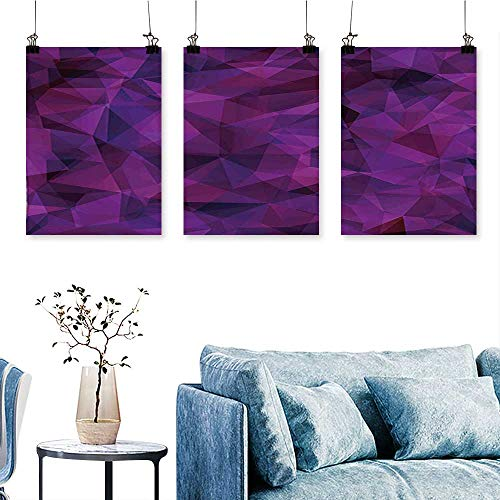 (SCOCICI1588 Three Consecutive Painting Frameless Glass Inspired Geometric Triangle Abstract Shapes Eggplant Purple Lilac and Burgundy Artwork for Wall Decor Triptych 24 INCH X 35 INCH X 3PCS)