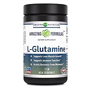 Amazing Nutrition Amazing Formulas L Glutamine Powder Supplement – 1lb jar 1g Per Scoop (Approx. 454 servings) Promotes Workout Recovery, Supports The Immune System & Muscle Maintenance*