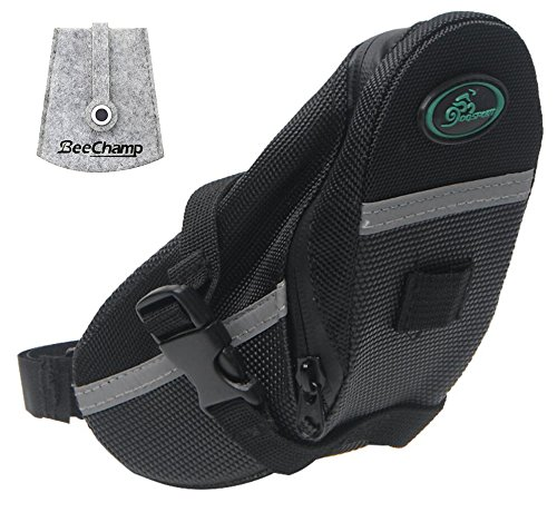 BeeChamp Bike Bicycle Strap-on Saddle Bag Cycling Under Seat Tail Wedge Pack Waterproof Seatpost Tool Kit Pouch