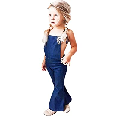 8fb33bf1d7f Minisoya Fashion Toddler Kids Baby Girl Backless Denim Jumpsuit Suspenders Overall  Romper Bell-Bottom Flare