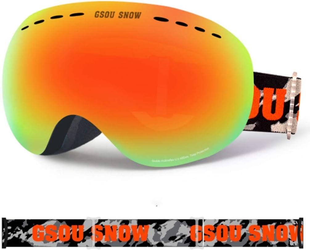 男性女性用スキースノーボードスノーゴーグル、保護球面デュアルレンズDesignAnti-fog、近視屋外クライミング機器に使用可能 (Color : D) D