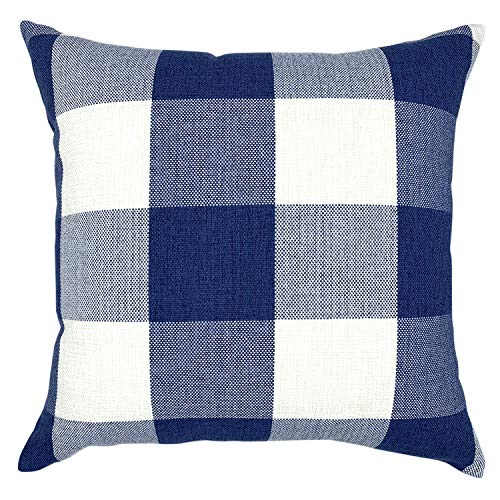 YOUR SMILE Retro Farmhouse Buffalo Tartan Checkers Plaid Cotton Linen Decorative Throw Pillow Case Cushion Cover Pillowcase for Sofa 24 x 24 Inch,Navy/White