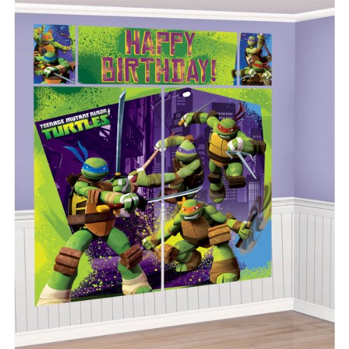 5-Piece Set Teenage Mutant Ninja Turtles Scene Setter, Multicolored - Turtle Scene