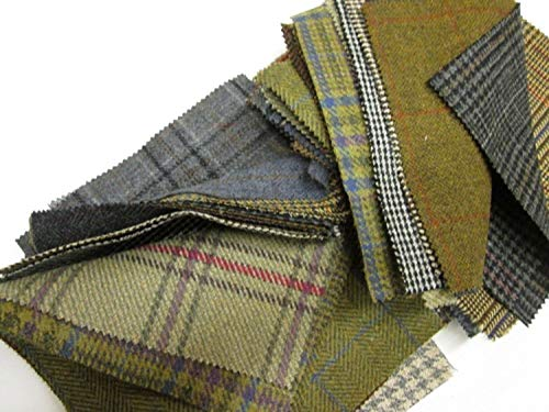 """Tweed Patchwork 100% Wool Remnant Offcuts Squares 20 Pieces 23cm (9"""")"""