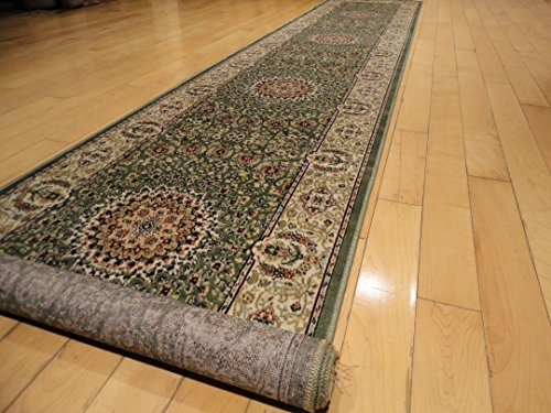 Stunning Silk Persian Style Area Rug Green 2x12 Hallway Runners Traditional Green Rugs for Stairs Rug and Hallway Rug (Green, 26x144 inch Hallway Runner)