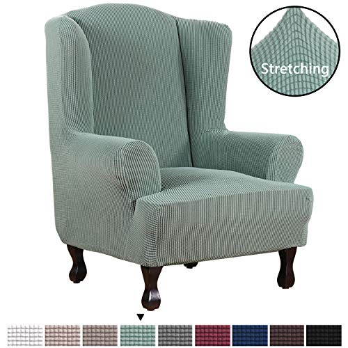 Stretch Slipcovers Sofa Covers Furniture Protector with Elastic Bottom, Anti-Slip Foams 1 Piece Couch Cover, Lycra Spandex Jacquard with Small Checks Wing Chair Slipcover(Wing Chair, Sage)