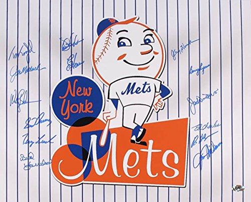 MR. MET MULTI SIGNED NY METS 16x20 MAGADAN BACKMAN LYONS FERNANDEZ HARRELSON +9 - Multi Signed Baseball