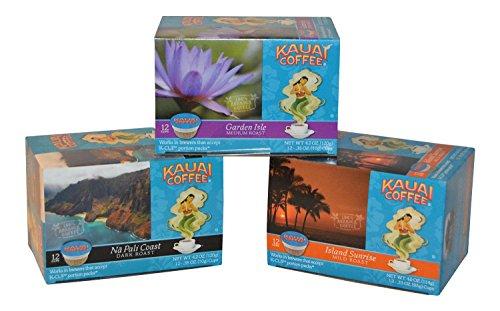 4.2 Single - Kauai Coffee Variety (Pack of 3) 12 Single Serve Cups, 4.2 Oz. 1 - Garden Isle, 1 Island Sunrise, 1 Nai Pali Coast.