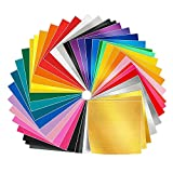 Adhesive Vinyl Sheets - 50 Pack 12'' X 12'' Premium Permanent Self Adhesive Vinyl Sheets in 38 Assorted Colors for Cricut,Silhouette Cameo,Craft Cutters,Printers,Letters,Decals