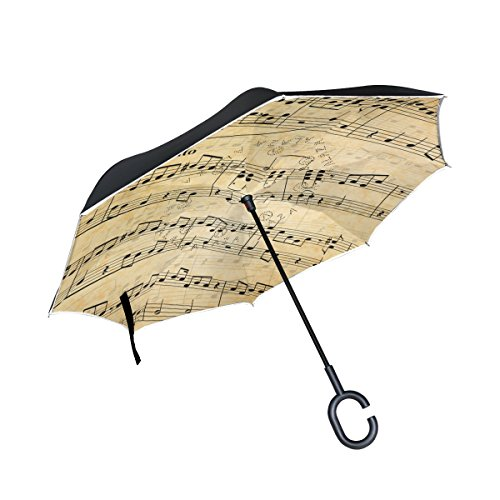 (My Daily Double Layer Inverted Umbrella Cars Reverse Umbrella Music Notes Vintage Windproof UV Proof Travel Outdoor Umbrella)