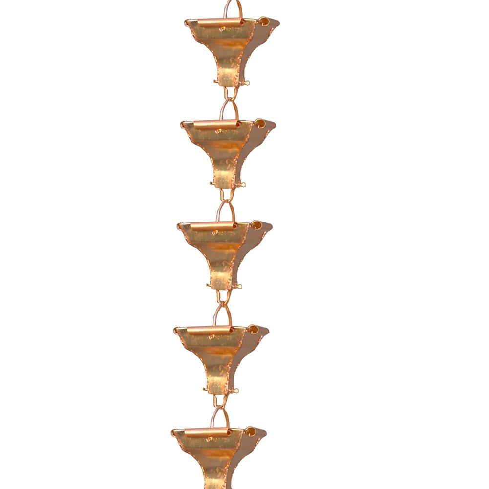 Monarch Pure Copper Rustic Curl Cup Rain Chain, 8-1/2 Feet Length