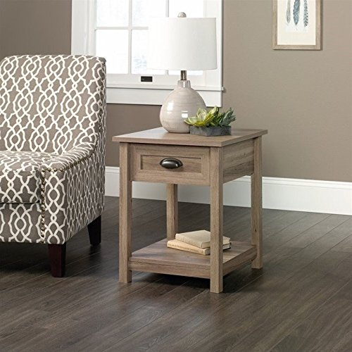 Sauder County Line End Table in Salt Oak (End With Drawers Tables)