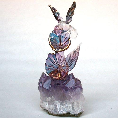 Hand Blown Glass Hummingbird Figurine (Diego Decor Garden San)