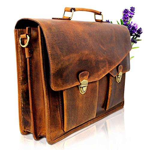 Vintage Couture Leather Briefcase for Men Women Laptop Bag 17 Inch Satchel Vintage Brown