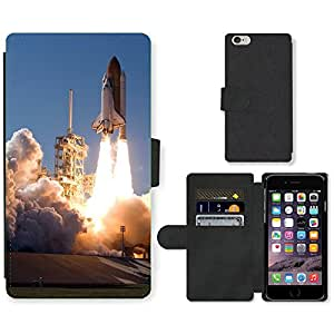 PU Cuir Flip Etui Portefeuille Coque Case Cover véritable Leather Housse Couvrir Couverture Fermeture Magnetique Silicone Support Carte Slots Protection Shell // M00292660 Cohete de lanzamiento de cohetes Take // Apple iPhone 6 PLUS 5.5""