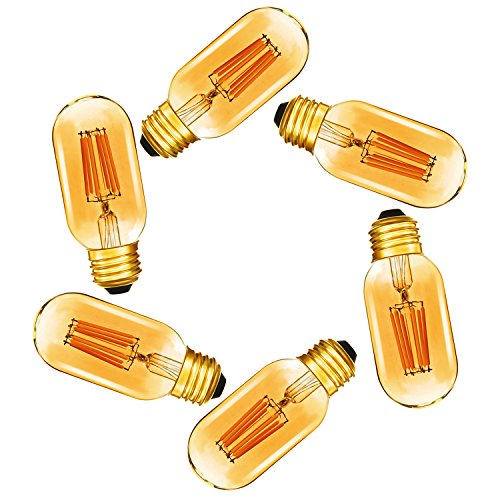 Dimmable 6W Tubular LED Bulb,T45 Edison Style LED Filament Bulbs,E26 Amber Glass 420LM, 60 Watt Bulb Equivalent, Soft Warm 2200K,6 Pack(2 Year Warranty)