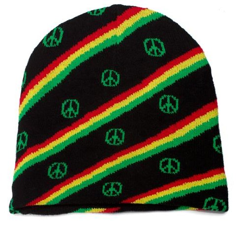 Rasta and Peace Sign Knitted Beanie