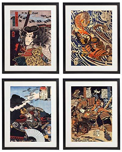 IDIOPIX Japanese 05 Samurai Art Warriors Painting Wall Art Set of 4 Prints UNFRAMED ()
