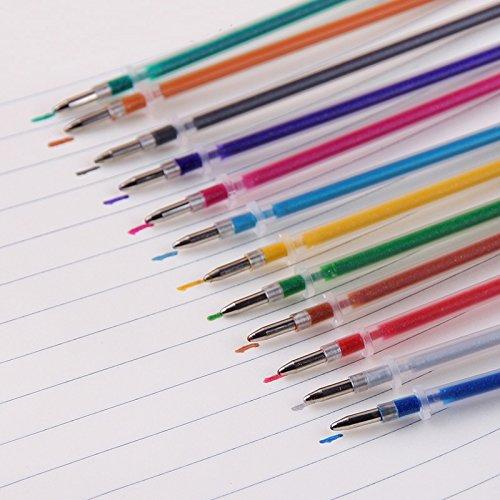 Kanggest 48Pcs 0.1mm Bol/ígrafo Multicolor Bol/ígrafo Plumas de Tinta Recambios para Utiles Escolares 48 colores