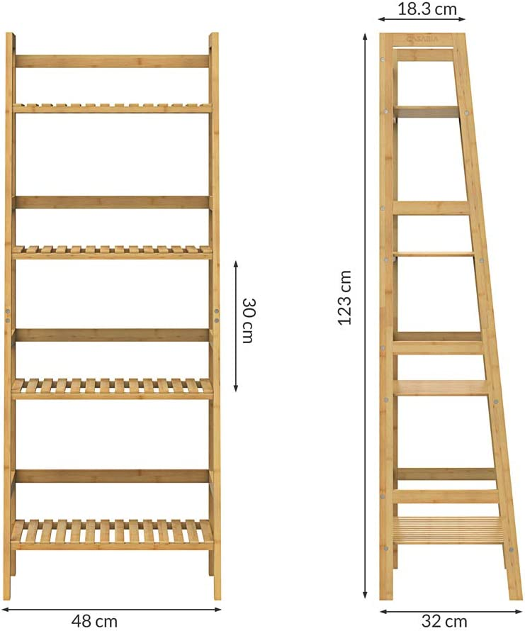 Casaria Standregal Badregal Bambus 4 Ebenen 123x48x32 cm K/üchenregal Schuhregal Bambusregal Bad Keller K/üche Massiv