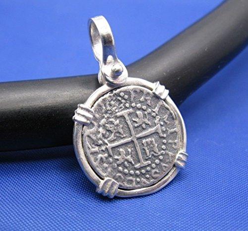 Sterling Silver Small Atocha Shipwreck Coin Replica in Custom Pendant Bezel with Shackle (Atocha Coin Pendant)