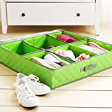 Styleys 6 Pairs Shoes Storage Box Shoe Organizer Under Bed Closet Shoebox Non-woven Eco-Friendly Folding Bamboo Charcoal Fabric Green