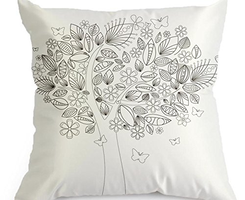 DIY Coloring Pillowcase Fastness Graffiti Pillow Cover 18''x18'' with A Set of 12 Doodle Color Pens (Cute Tree)