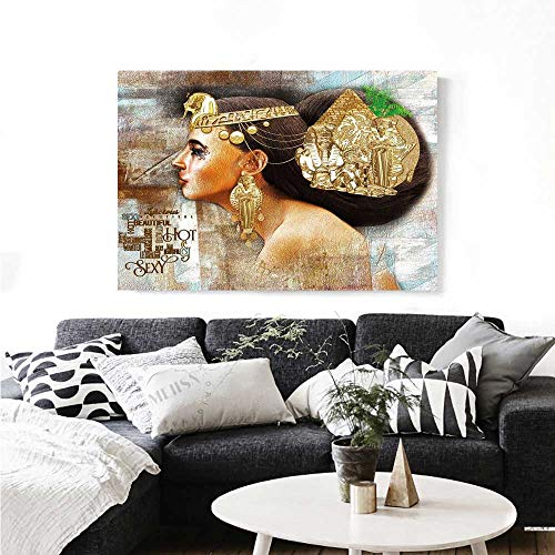 Womens Atv Profile (Egyptian Wall Paintings Woman Queen Cleopatra Profile Historical Art Scene with Ancient Pyramid Sphinx Print On Canvas for Wall Decor 36