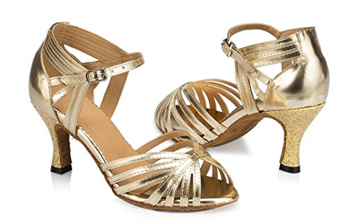 F&M Fashion ,  Damen Tanzschuhe , Gold - gold - Größe: 36.5