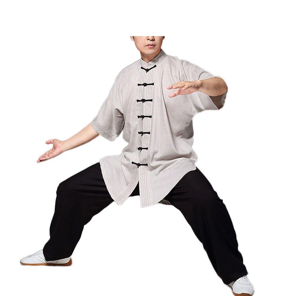 KIKIGOAL Unisex Linen Chinese Traditional Tai Chi Uniforms Kung Fu Clothing Tang Suit Martial Arts Wear (L, kihaki)
