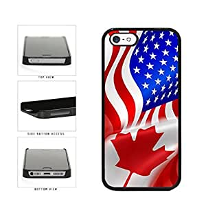 Canada and USA Mixed Flag Plastic Phone Case Back Cover Apple iPhone 5 5s