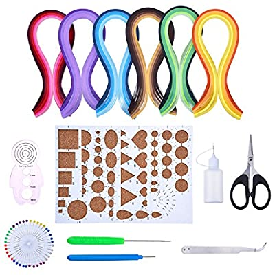 Outus Paper Quilling Kit Assorted Colors with 8 Quilling Tools and 29 Colors 600 Strips Quilling Paper