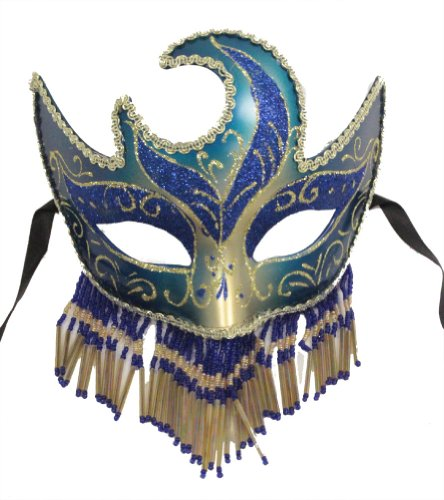 RedSkyTrader - Venetian Blue and Gold with Fancy Beads - Glitter Party Mask - One Size fits Most - Blue and Gold - Adult Gold And Beads Venetian Mask