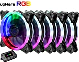 pc fan adjustable - upHere 5-Pack Wireless RGB LED 120mm Case Fan,Quiet Edition High Airflow Adjustable Color LED Case Fan for PC Cases, CPU Coolers,Radiators system