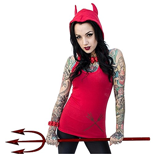 [Women's Kreepsville 666 Devil Tail Hoody Tunic TopXL] (666 Halloween Costume)