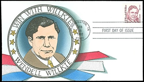 2/16/1992 F M GEERLINGS Handpainted FDC, WIN WITH WENDELL WILKIE Election, #2192