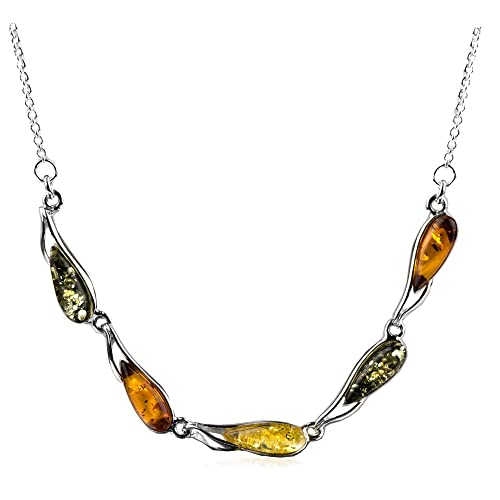 Sterling Silver Multicolor Amber Dreams Necklace Earrings Set 18 Inches